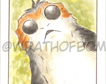 Star Wars: The Last Jedi Porg Fan Art Sketch Card
