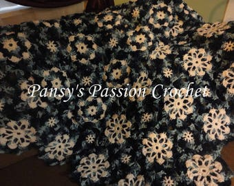 Hand Crocheted Snowflakes Blanket
