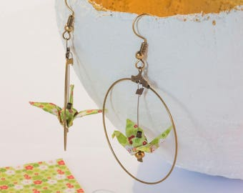 Bronze origami cranes red and white flowers on green background in hoop earrings