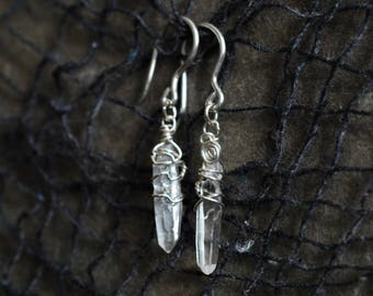 Laser Quartz & Sterling Earrings