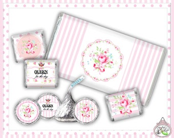 Queen for the Day-Candy Kisses & Chocolate Bar Wraps-Plain and Theme-Party Printable-Birthday-Mothers Day-Shabby Chic Parties-Decorations