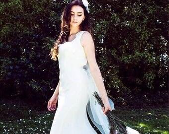 Floral wedding dress etsy floral wedding dress in white wedding dresses romantic wedding gownprom dress junglespirit Images