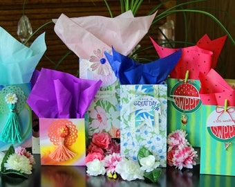 Gift Bags Party Bags 2 Bag Set Treat Bags Decorated Fully Assembled Tissue Included Ready To Use Party Decor Individually Handmade