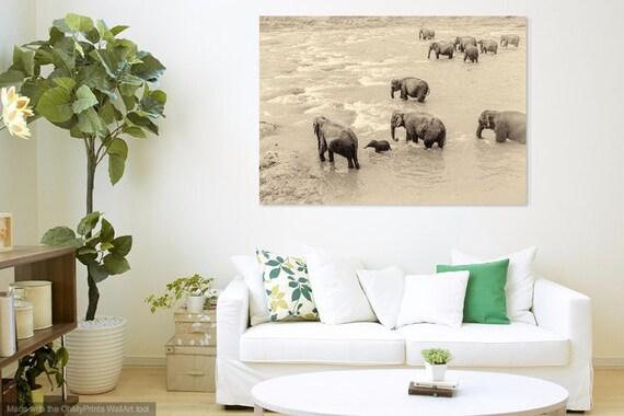 RIVER ELEPHANTS. Giclee Print, Sri Lanka, Elephants Print, Limited Edition, Photographic Print