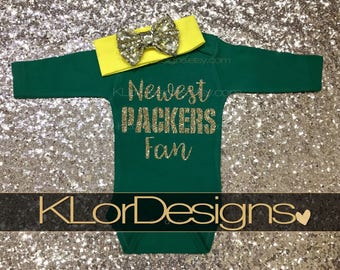 Newest Packers fan, Green Bay baby, biggest Packers fan, Packers baby outfit, baby girl outfit