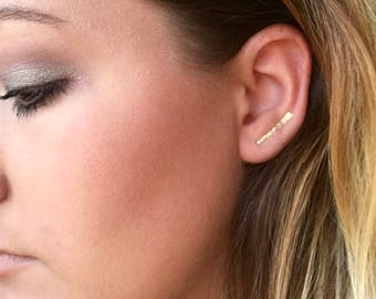 14k Gold Ear Crawler Earrings Crawler Ear Climber Ear Jackets Earrings Stud Earrings Dainty crawlers Climber Earrings Bar Earring Minimalist