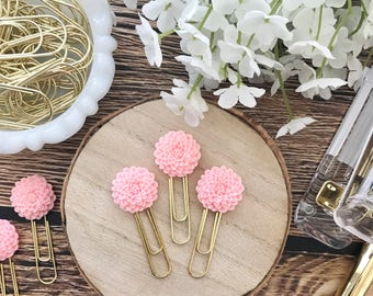 Pink Mum Cabochon Flower Paperclip Plannerclip Bookmark