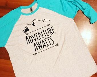 Adventure Awaits Raglan - Mountain Adventures - Mountain Trip - Plus size