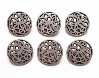 6 large round buttons in silver 23 mm / top quality