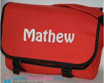 Personalised School/Messenger/Shoulder Red Bag, Embroidered with Name