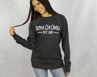 Alpha Chi Omega Crewneck Sweatshirt in Charcoal Gray