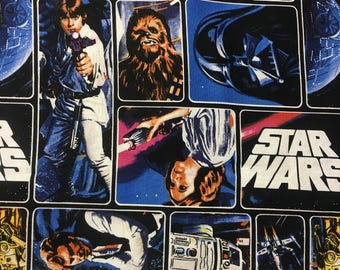 "Star Wars original charcters fabric, by the half yard, 44"" wide, 100% cotton, star wars fabric, movie fabric, character fabric, r2d2"