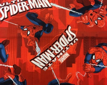 "Ultimate Spiderman on red Springs Creative, 43-44"" wide, 100% cotton"
