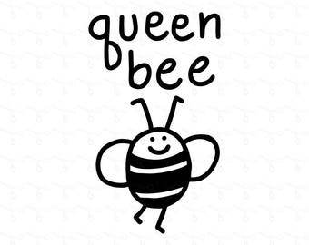Queen Bee Clipart & Vector for Iron On Transfer, Digital Print, Die Cutting, Scrapbooking, Embroidery Pattern Etc (jpg png svg)