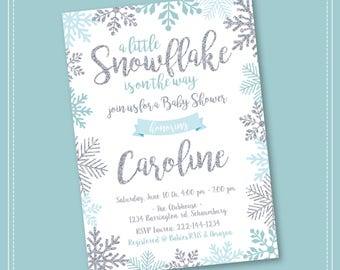 Snowflake Baby Shower Invitation, Winter Wonderland Baby Shower Invitation, Girl Snowflake Baby Shower, Winter Baby Shower Invitation, Boy,