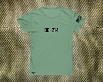 DD-214 Custom T-Shirt Armed Forces Men's Personalized Gift ideas Military Gifts America Army Air Force Marines Special Forces Navy Green