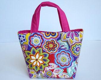 Childrens Bag, Childrens Handbag, Childrens Tote, Mini Tote Bag, Girls Christmas Gift, Girls Birthday Gift, Kids Purse, Bright Fabric