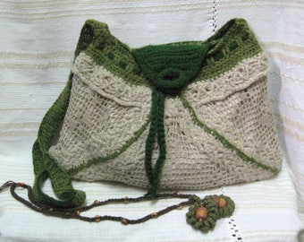 Olive green bag hand-knitted,  Handmade woman Accessory, Handmade bag,  Olive green handbag, Ladies bag,  Linen handbag,  Every day bag