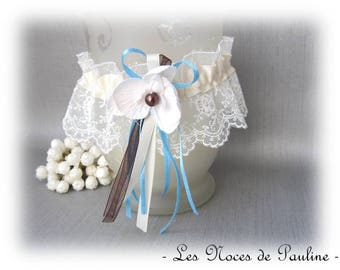 Wedding garter ivory lace, Brown and turquoise Orchid
