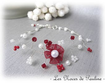 Burgundy and ivory wedding bracelet has Daisy collection 'Twist'