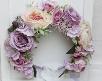 Lilac beige large flower crown Floral headband Maternity photo props Boho wedding Flower halo Bridal crown Floral crown Head wreath Bridal