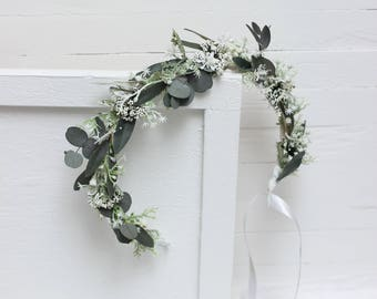 Flower girl crown Eucalyptus floral crown Floral accessories Wedding flower crown Bridal headpiece Bridesmaid Outdoor Leaves headband