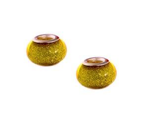 set of 4 yellow glitter charm beads orange resin 14 mm