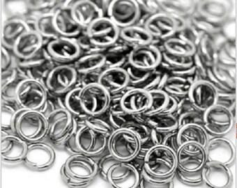 Set of 100 rings in stainless steel 3 mm