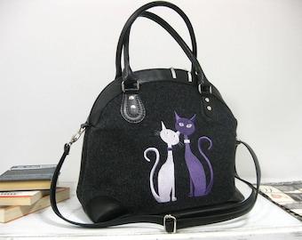 Women felt bag/Felt Setchel Purses / Cat bag/ Women gift / Felt tote bag / Felt handbag/ Felted purse/ Felt shoulder bags