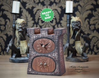 Tower Box Of Wood Castle Box Stone Tower Tower For Children Clock