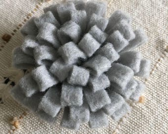 Felt Flower Brooch Pin - Grey