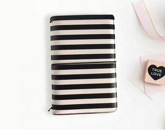 SALE Black and White Stripe Travelers Notebook, Striped TN, Standard Size, Midori