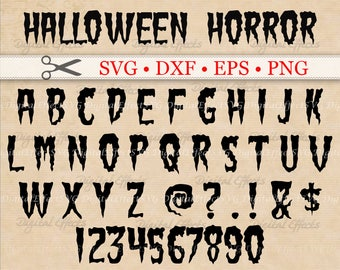Halloween Horror Monogram Font SVG, Dxf, Eps, Png, Spooky Slime Halloween SVG Alphabet, Silhouette Studio, Outline Letters Cut Files, Cricut