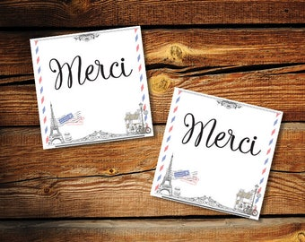 "Printable Merci Tags, Thank you Tags, Paris Bridal Shower, Paris Wedding, Paris Party Decor, size 2.25"" x 2.25"",Square, Instant Download JPG"