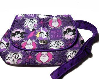 Disney Villains Crossbody Messenger purse, Disney Villains hipster, Evil is the New Black purse, Women's gifts