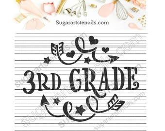 3rd grade School cookie stencil NY0154