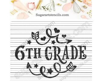 6th grade School cookie stencil NY0157