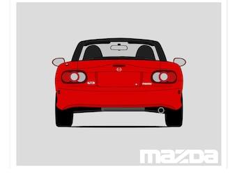 Mazda Miata NB Rear Poster // Mazda MX-5