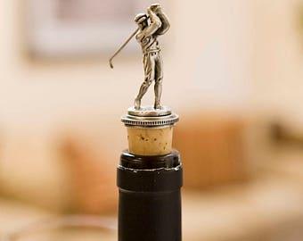 Attractive And Elegant Golfer Pewter Wine Bottle Topper