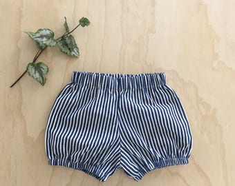 Bloomers/diaper for girl, Navy and white line
