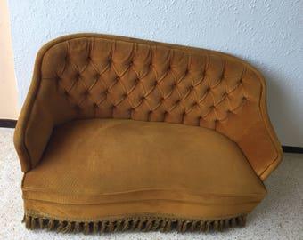 Sold! Vintage yellow/gold velvet sofa
