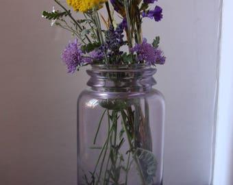 Antique Jar, Purple Glass Jar, Vintage Canning Jar, Vintage Purple Jar, Glass Flower Vase