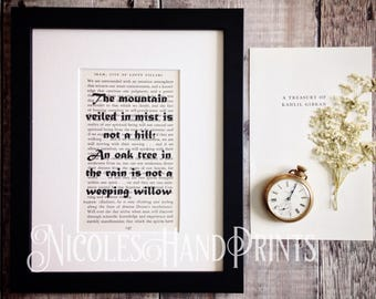 Inspirational Quote Print, Kahlil Gibran, Life Quote, Khalil Gibran, Philosophy Gift, Words of Wisdom, Poetry, Ooak, Inspirational Art Print