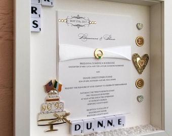 Wedding Memory Frame, Personalised Wedding Gift, Wedding Invitation Keepsake, Wedding Invitation Frame
