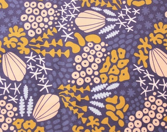 Cloud 9 Fabric Organic Cotton Poplin, Pop Reef Navy, Ocean Fabric, Navy, Organic Fabric, Cotton Fabric, Quilting Dressmaking, Half Metre