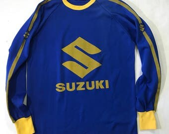 Vintage Suzuki Longsleeve Racing Shirt Sz L Motocross Shirt brand car motorcycle japan