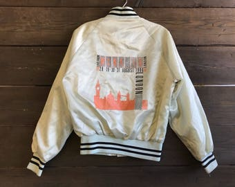 Vintage 80s WCNA-16 Satin Bomber Jacket