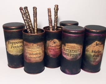 Harry Potter gifts, Harry Potter Party, Harry Potter decor, Harry Potter wand, pencil holder, Harry Potter Desk Organizer, Vintage Canisters