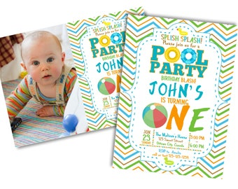 1st Birthday Pool Party Invitation, Swimming Pool Birthday Party, Swimming Birthday, Swimming Party, First Birthday, Printable Digital file