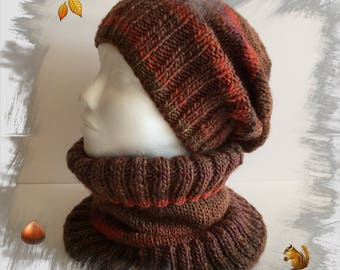 All women, Choker/neck snood wool + hat, warm and cozy soft wool, shades of Brown and rust